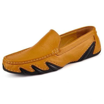 Mens Genuine Leather Loafers Casual Hollow Shoes Men