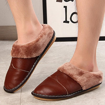 Mens Leather Non-Slip Couple Home Shoes Indoor Bag With Slippers Cotton Men
