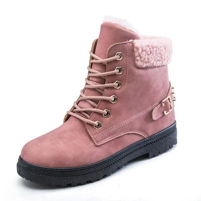 Womens Rivet Flat Heel Pu Lace-Up Snow Combat Boots Women Shoes