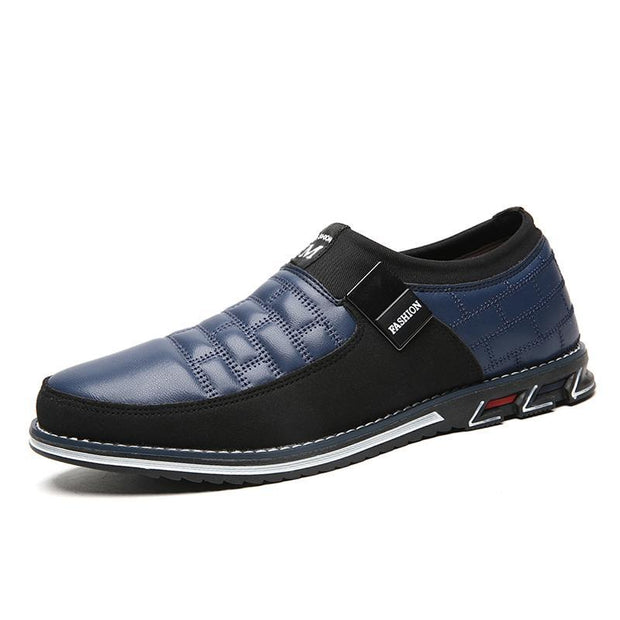 Mens Genuine Leather Stitching Slip On Non Formal Shoes 136195 Blue Cotton Padded / Us 6 Men