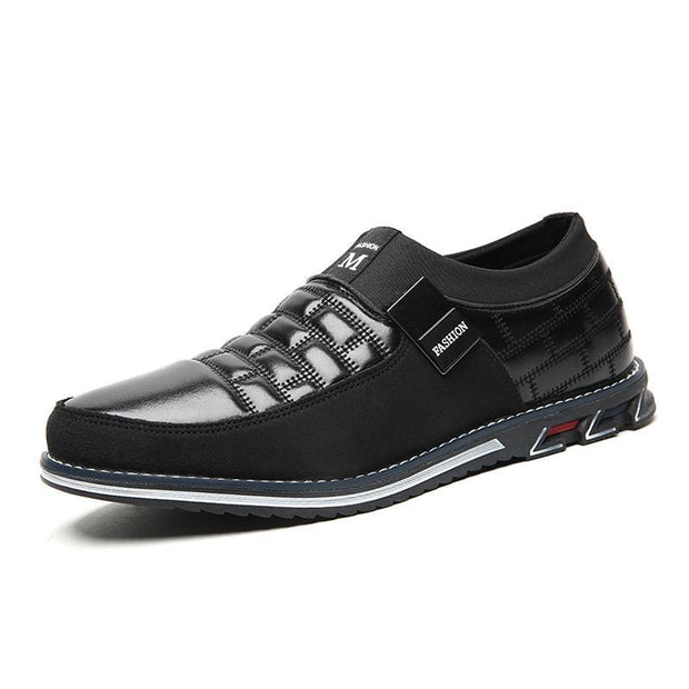 Mens Genuine Leather Stitching Slip On Non Formal Shoes 136195 Black Cotton Padded / Us 6 Men