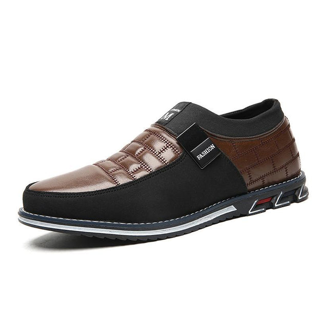 Mens Genuine Leather Stitching Slip On Non Formal Shoes 136195 Brown Cotton Padded / Us 6 Men
