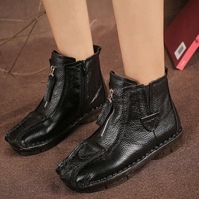 Womens Shoes Leather National Wind Wool Boots Women
