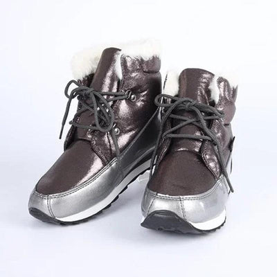 Women Flat Heel Waterproof Lace Winter Snow Boots Casual Fur Lined Shoes