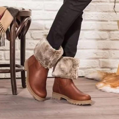 Women Brown Waterproof Warm Winter Boots Shoes