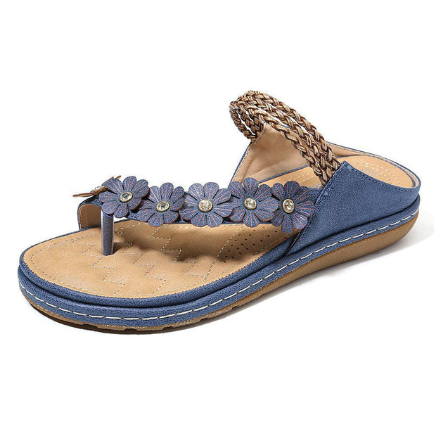 Women Flower Bohemia Clip Toe Backless Summer Beach Sandals 131617 Blue / Us 5 Shoes