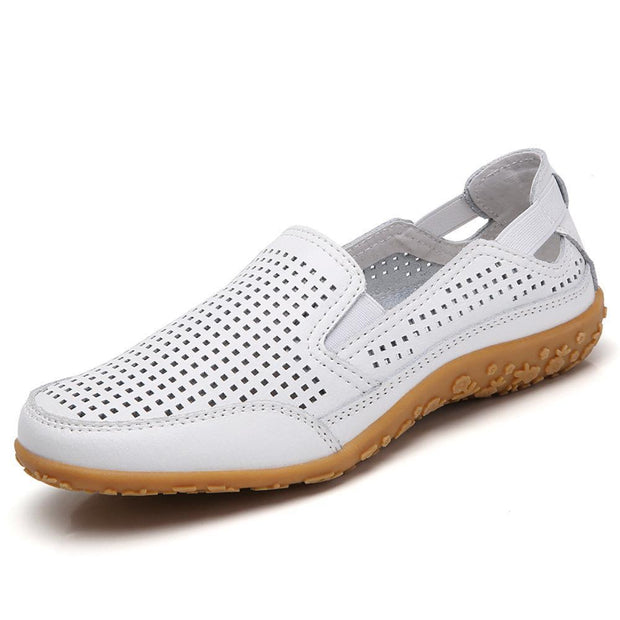 Women Casual Soft Hollow Round Toe Slip On Flat Loafers 134805 White / Us 4 Shoes