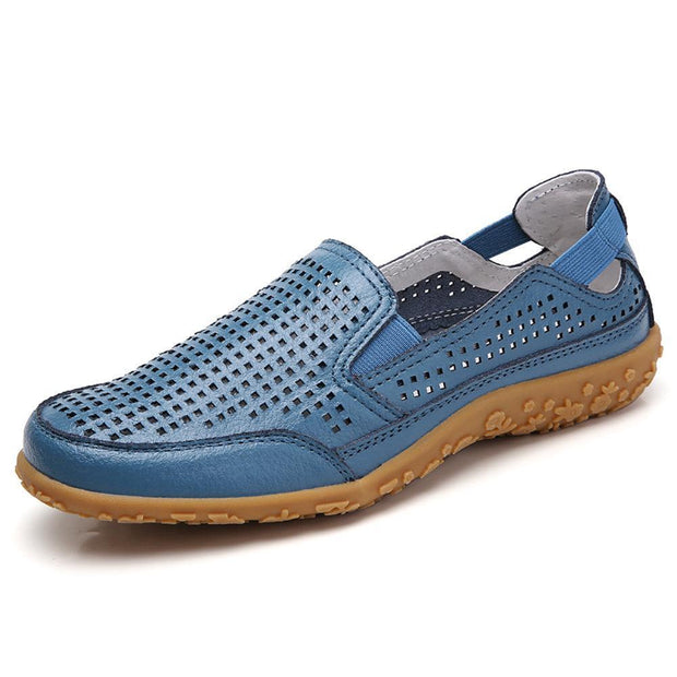 Women Casual Soft Hollow Round Toe Slip On Flat Loafers 134805 Blue / Us 4 Shoes