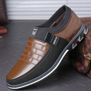 Mens Genuine Leather Stitching Slip On Non Formal Shoes Men