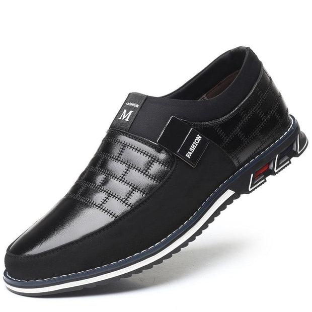 Mens Genuine Leather Stitching Slip On Non Formal Shoes 136195 Black / Us 6 Men