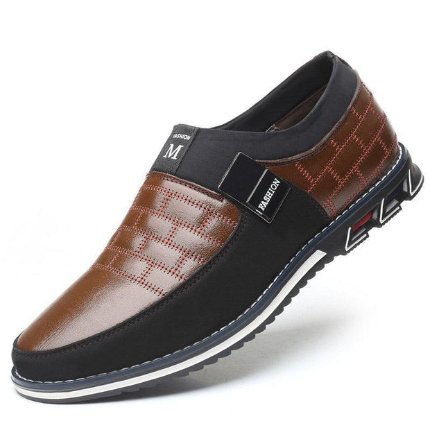 Mens Genuine Leather Stitching Slip On Non Formal Shoes 136195 Brown / Us 6 Men