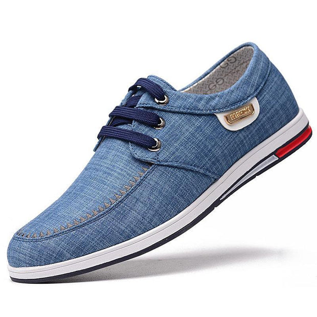 Mens Pure Color Breathable Canvas Non Slip Casual Flats 136196 Blue / Us 6 Men Shoes