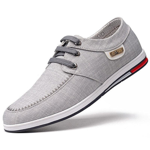 Mens Pure Color Breathable Canvas Non Slip Casual Flats 136196 Grey / Us 6 Men Shoes