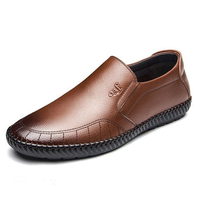 Mens Hand Sitching Round-Toe Slip-On Casual Driving Loafers Men Shoes