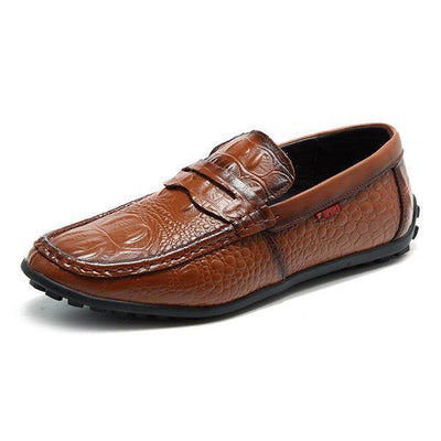 Mens Soft Leather Crocodile Pattern Slip On Driving Loafers Men Shoes