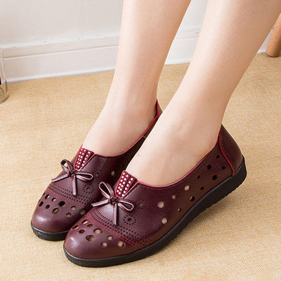 Womens Breathable Stylish Hollow Out Bowknot Slip-On Flats Women Shoes