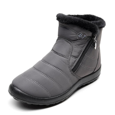 Womens Winter Warm Thick Plush Tarpaulin Waterproof Side Zipper Solid Color Non-Slip Boots Women