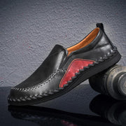 Mens Genuine Leather Plus Size Handmade Stylish Stitching Formal Casual Flats 136975 Black / Us 6