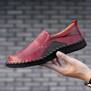 Mens Genuine Leather Plus Size Handmade Stylish Stitching Formal Casual Flats 136975 Wine Red / Us 6