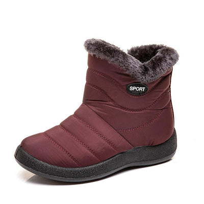 Women Winter Antiskid Waterproof Plush Lined Zipper Short Boots Shoes