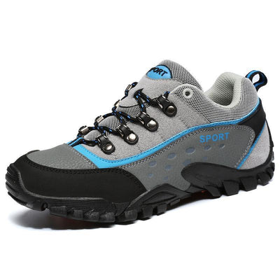 Mens Leather Mesh Breathable Non-Slip Wear-Resistant Outdoor Hiking Camping Sneakers Men Shoes
