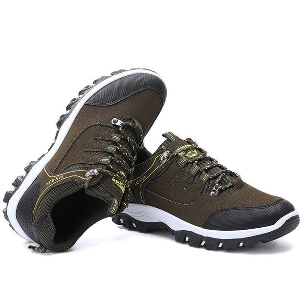 Mens All Seasons Microfiber Leather Outdoor Slip Resistant Lace Up Hiking Shoes Men