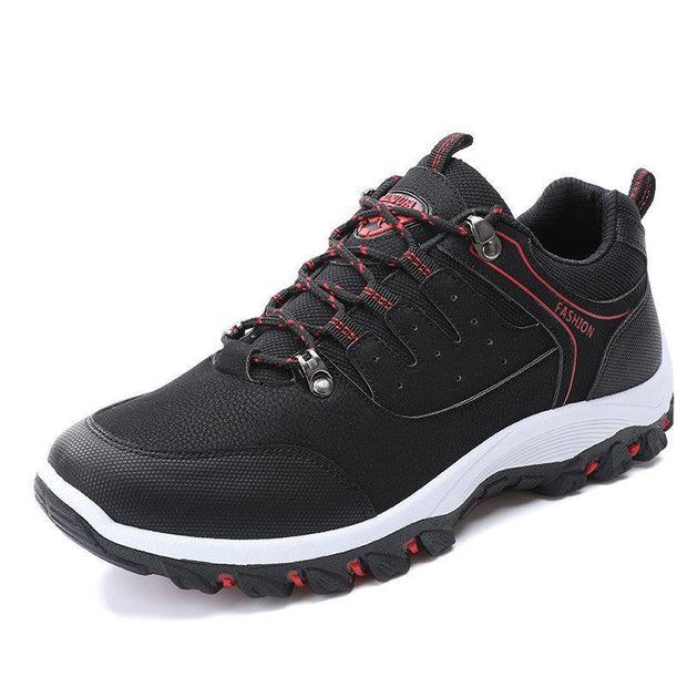 Mens All Seasons Microfiber Leather Outdoor Slip Resistant Lace Up Hiking Shoes 137444 Black / Us 6