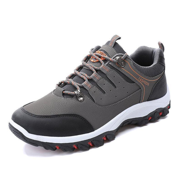 Mens All Seasons Microfiber Leather Outdoor Slip Resistant Lace Up Hiking Shoes 137444 Grey / Us 6