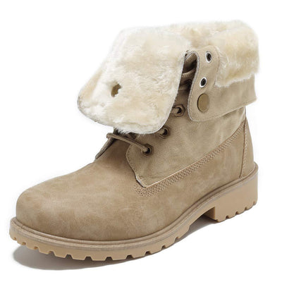 Womens Winter Warm And Comfortable Waterproof Snow Boots With Fur-Lined Shoes Women