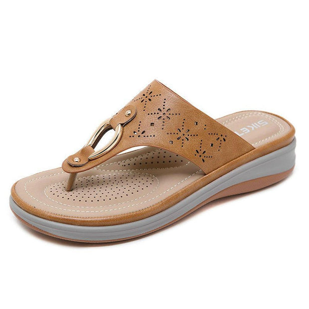 Women Shoes Comfortable Clip Toe Soft Sole Beach Casual Flat Sandals 131624 Khaki / Us 5