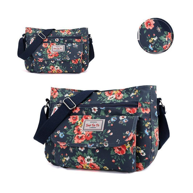 Waterproof Flowers Printing Shoulder Handbags 113944 Rose Flower-Qiangweihua Women Bags Luggages