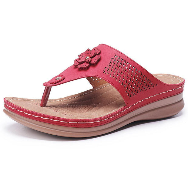 Women Hollow Out Clip Toe Flip Flops Beach Casual Holiday Slippers 132241 Red / Us 5 Shoes