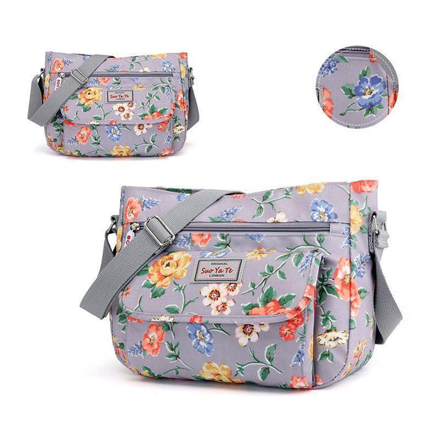 Waterproof Flowers Printing Shoulder Handbags 113944 Blue Rose Women Bags Luggages