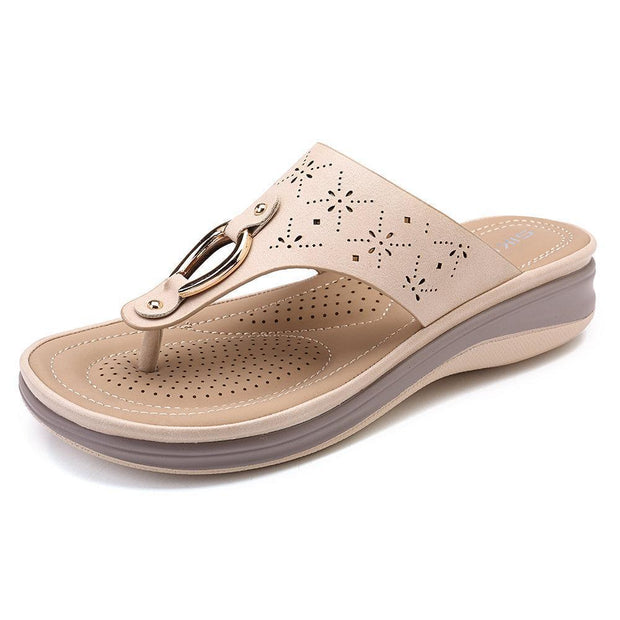 Women Shoes Comfortable Clip Toe Soft Sole Beach Casual Flat Sandals 131624 Apricot / Us 5
