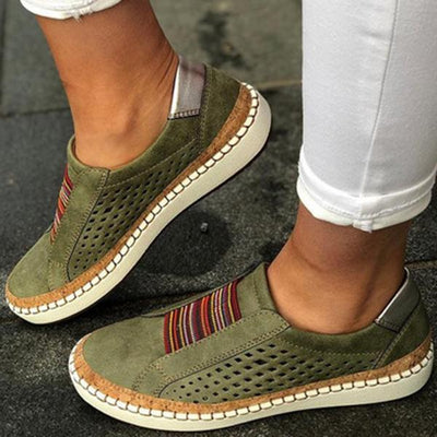 Women Large Size Breathable Hollow Splicing Flat Loafers Shoes