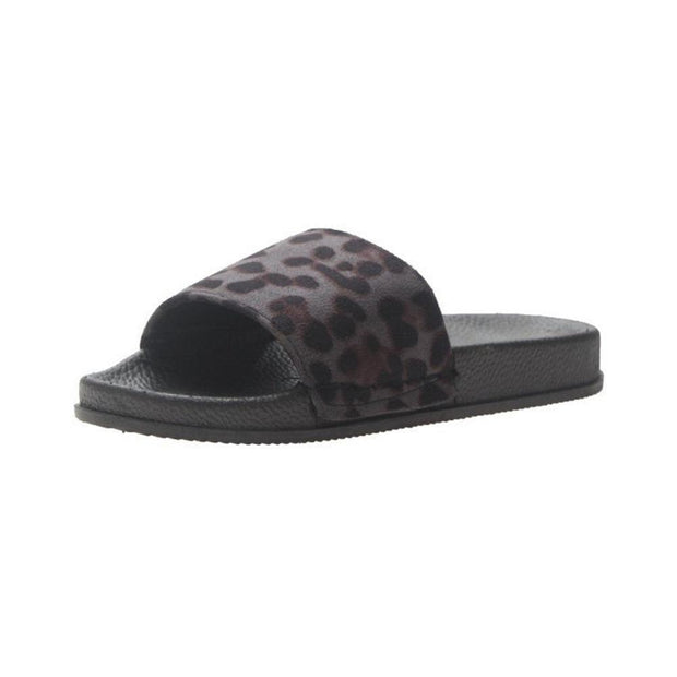 Women Leopard Opened Toe Home Casual Flat Slides Slippers 132221 Black / Us 5 Shoes