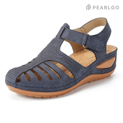 Hollow Out Lightweight Pure Color Breathable Hook Loop Wedges Sandals Women Shoes