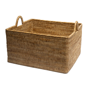 Woven Basket with Hoop Handles
