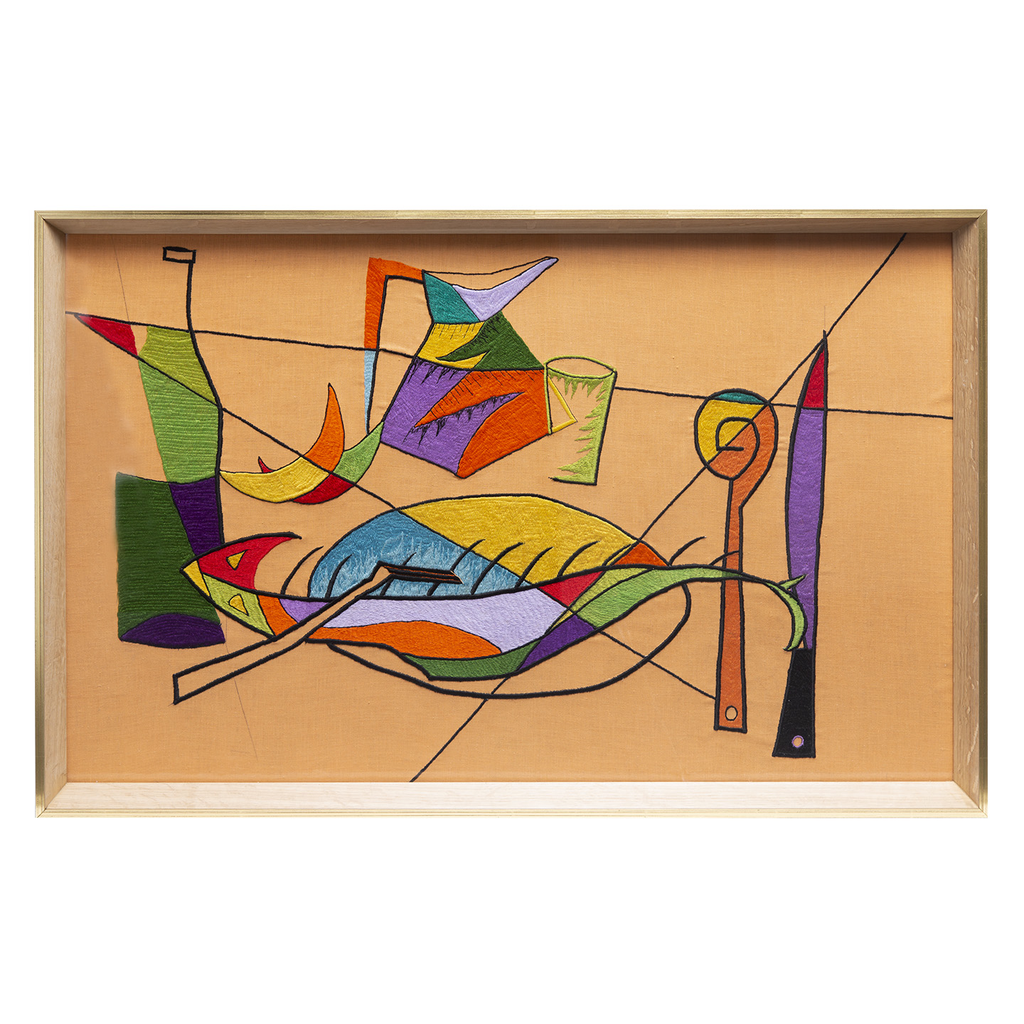 Mid Century Abstract Embroidery Still Life