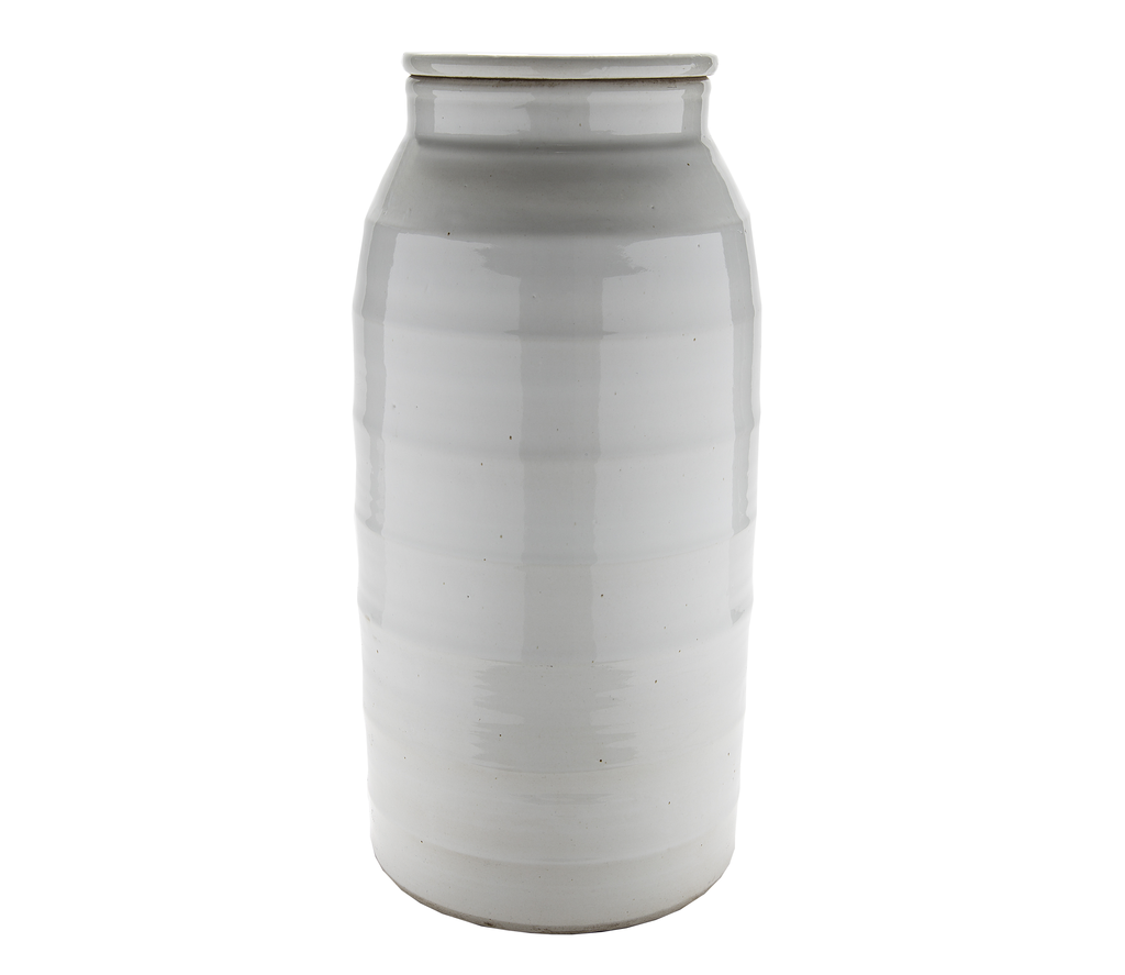 Large White Tubular Jar with Lid