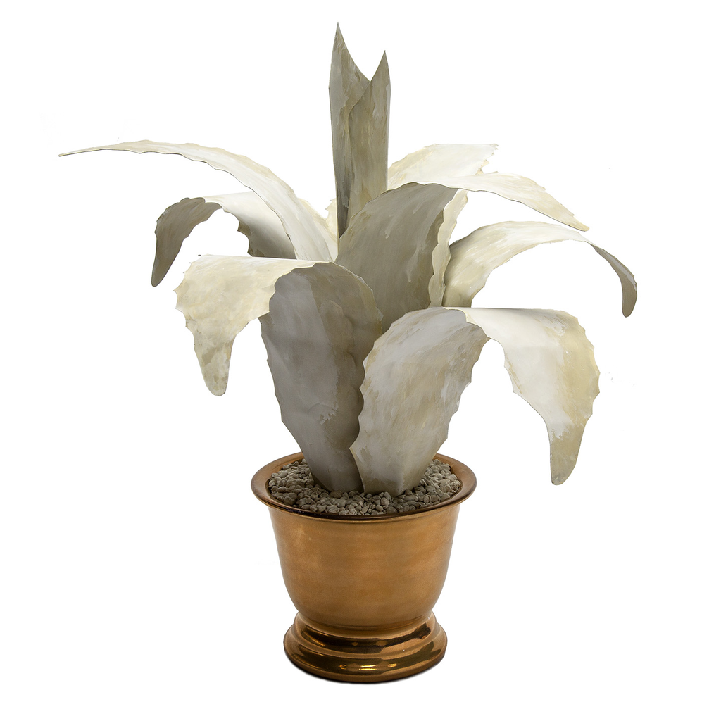 Hand Crafted Tole Agave Antiique White in Gold Pot