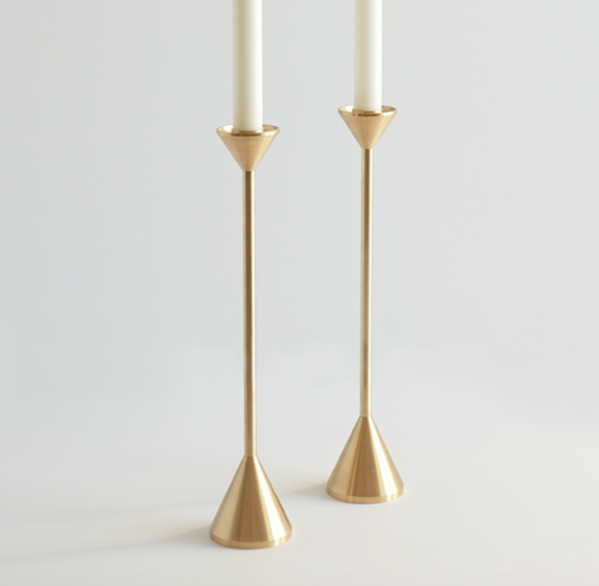 "18"" Tall Spindle Candle Holder, Machined from Brass, Cone Shaped Top and Base."