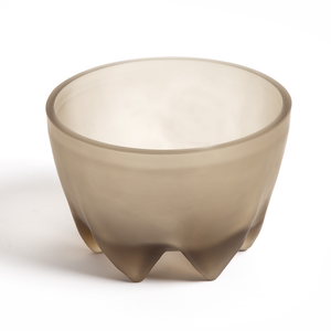 Frosted Smoke Glass Footed Bowl