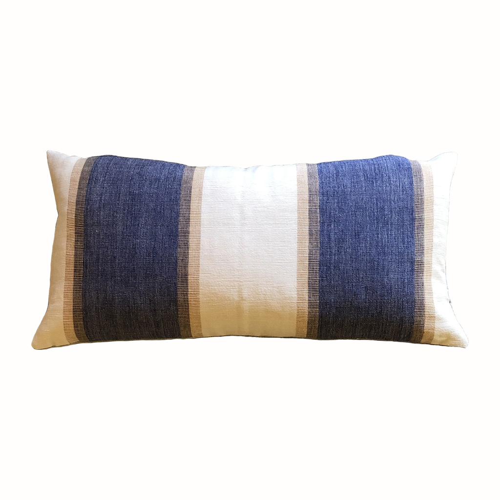 Malabar Blue and Cream Stripe Lumbar Pillow