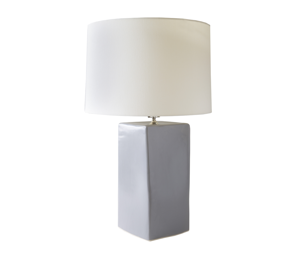 Large Square Ceramic Lamp in Grey