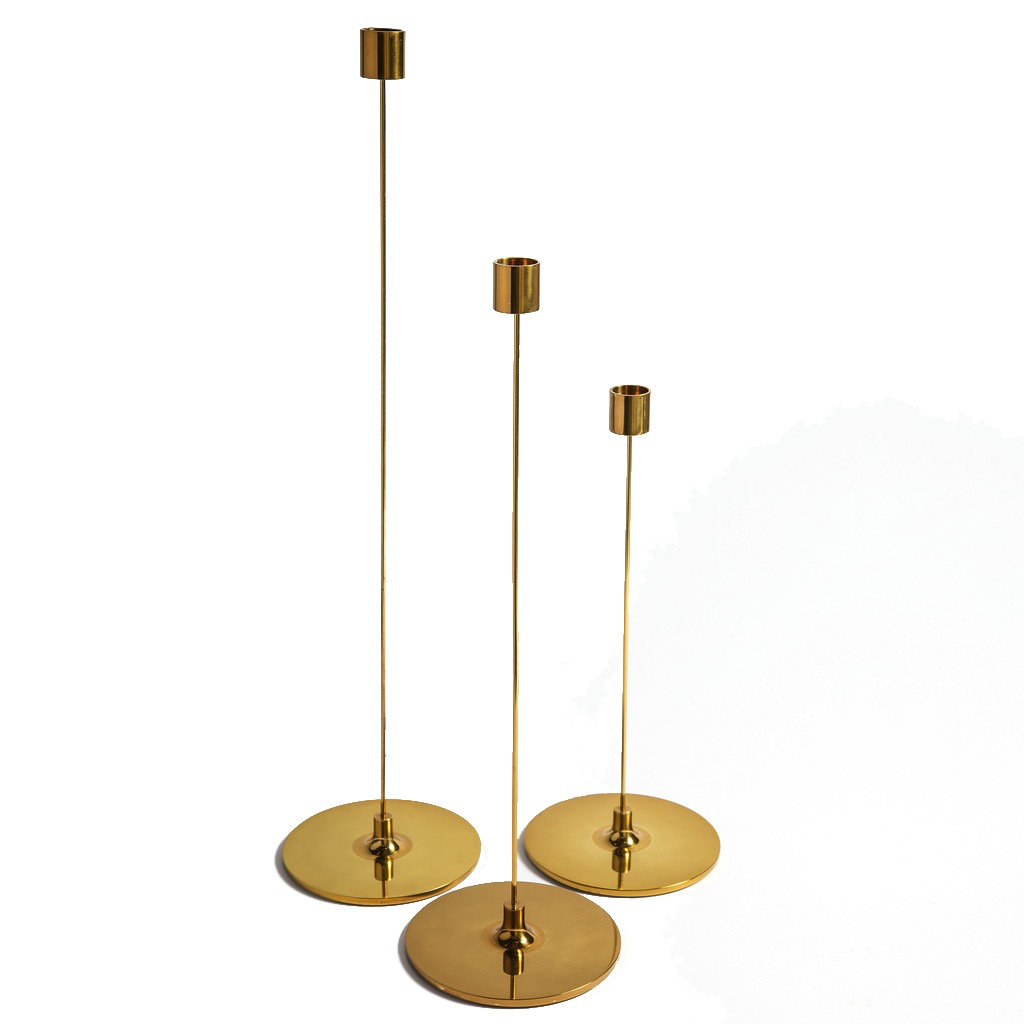 Pin Candletick in Tarnised Brass