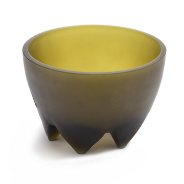 Frosted Olive Glass Footed Bowl.