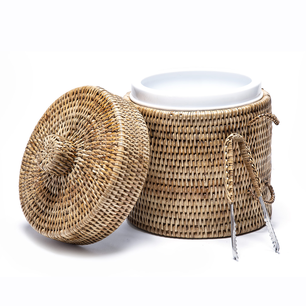 Woven Ice Bucket with Tongs