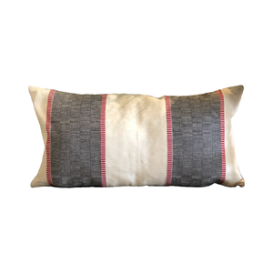Malabar Black and Cream Stripe Lumbar Pillow