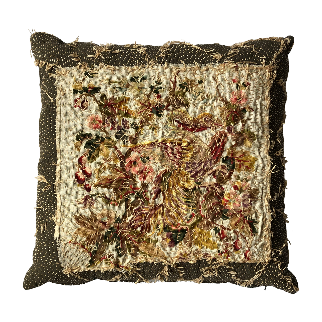 19th Century English Woollen Needlepoint Pillow